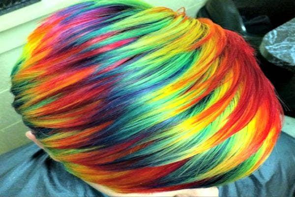Rainbow short hair.