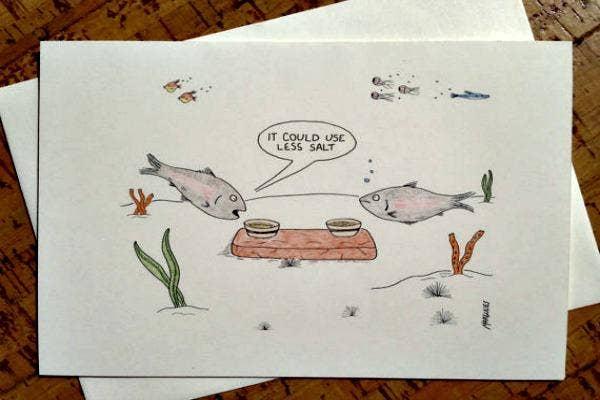Fish having dinner.