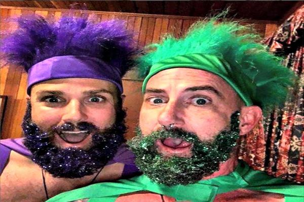 Man in purple and man in green.