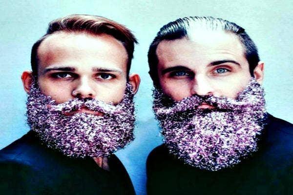 Two men with purple Glitter Beards.