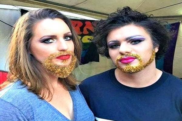 Two women with Glitter Beards.