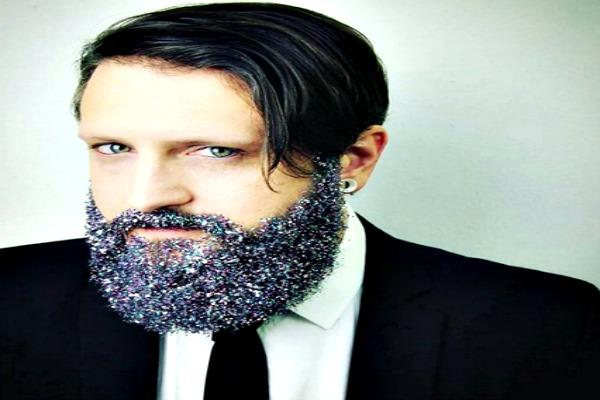 Man in suit and tie with Glitter Beard.