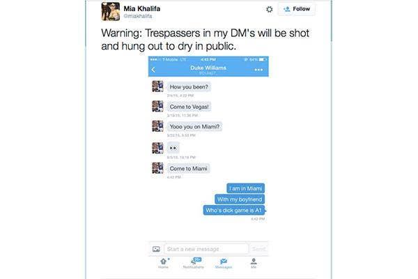 DM Mia Khalifa at your peril, celebrities