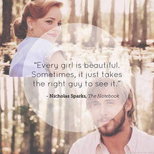 Nicholas Sparks self-esteem body quotes