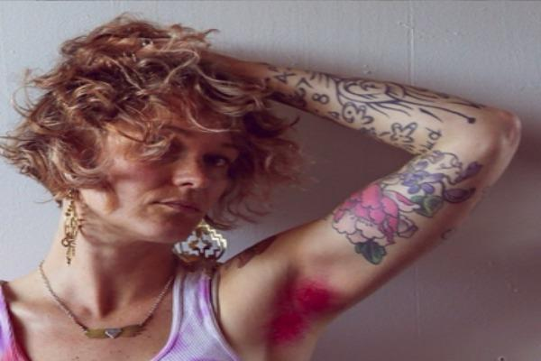 pink armpit hair and tattoos