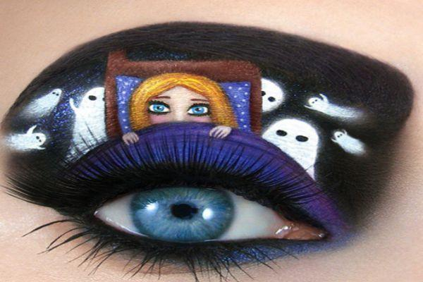 Eye-art of a child with ghosts around her.