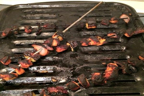 Burned meats.
