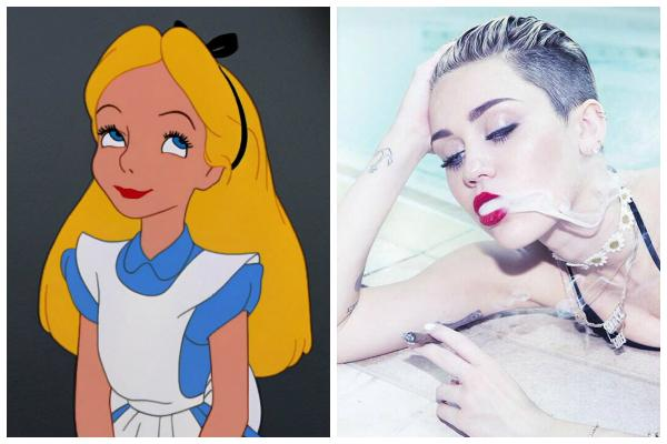 """Alice of Disney's """"Alice in Wonderland"""" and Miley Cyrus smoking a cigarette wearing red lipstick in Rolling Stone"""