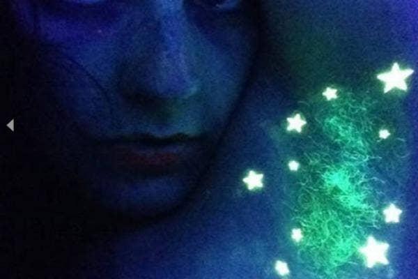 Glow in the dark underarm art.