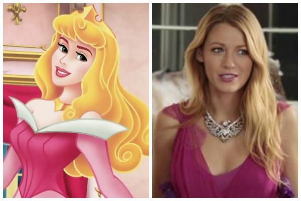 """Princess Aurora of Disney's """"Sleeping Beauty"""" and Blake Lively on Gossip Girl wearing a pink dress"""