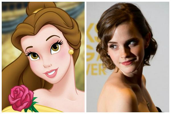 """Belle from Disney's """"Beauty and the Beast"""" in her signature gold yellow gown; Emma Watson at a film premiere wearing a strapless black gown and looking over her shoulder"""