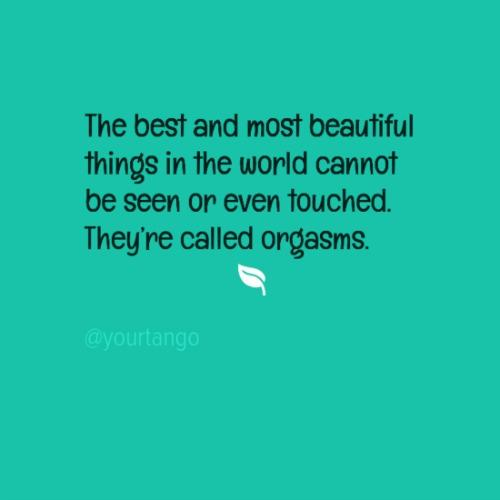 The best and most beautiful things in the world cannot be seen or even touched. They're called orgasms.