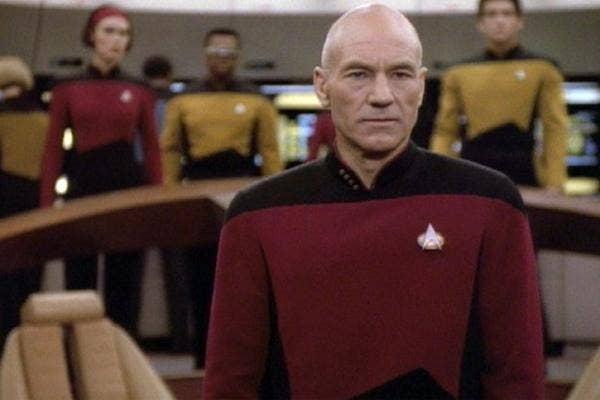 Sir Patrick Stewart as Captain Jean Luc Picard in Star Trek