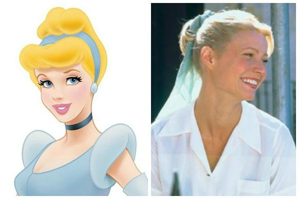 """Disney's Cinderella in her royal ball gown with her updo; Gwyneth Paltrow with a ponytail in """"The Talented Mr. Ripley"""""""