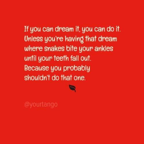 If you can dream it, you can do it. Unless you're having that dream where snakes bite your ankles until your teeth fall out. Because you probably shouldn't do that one.