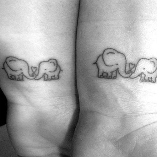elephant love mother daughter tattoos