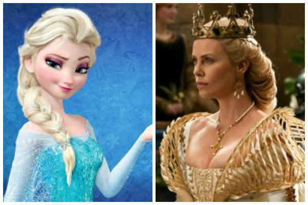 """Queen Elsa of Disney's """"Frozen"""" wearing her ice blue gown and holding snowflakes against a blue background; Charlize Theron as the evil queen in """"Snow White And the Huntsman"""" wearing all gold"""