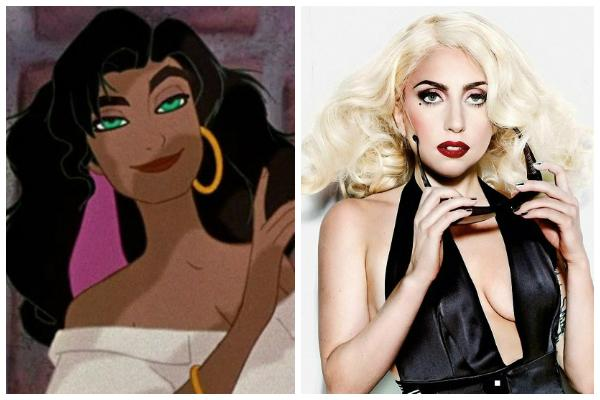 """Esmeralda in """"The Hunchback of Notre Dame"""" and Lady Gaga on the cover of Cosmopolitan, holding sunglasses and wearing a platinum blond wavy wig, red lipstick and a lowcut black top"""