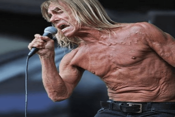 Iggy Pop's skin makes an additional face.