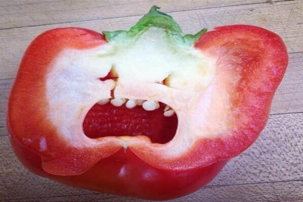 Half a red pepper face.