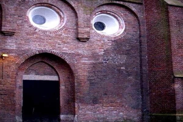 Building face.