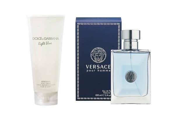Dolce & Gabbana Light Blue Body Cream and Versace Por Homme