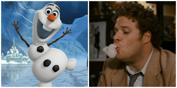 Olaf of Disney's 'Frozen' and Seth Rogen