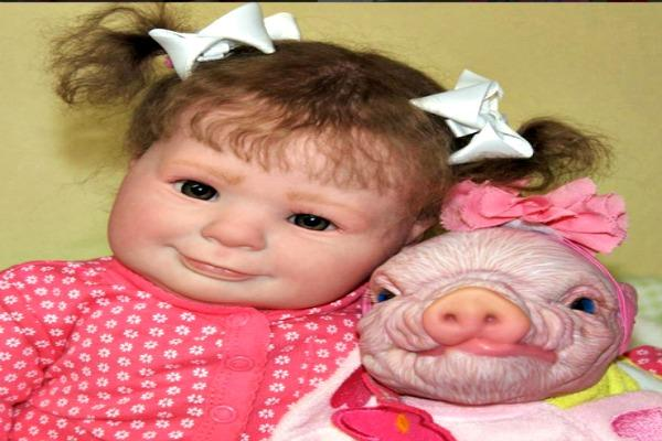 Girl with pig.