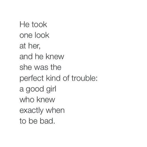 good girl who knows when to be bad