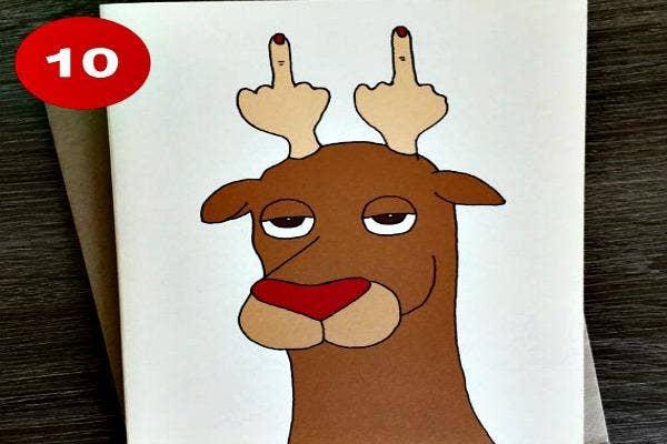 Reindeer with rude antlers.