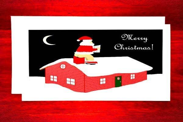 Santa taking a poop down the chimney.