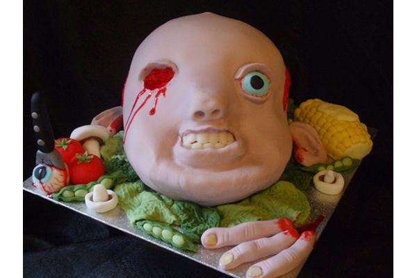 Severed Baby Head Cake