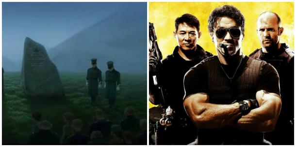 The Royal Guards of Arendelle; Jet Li, Sylvester Stallone and Jason Statham in 'The Expendables'