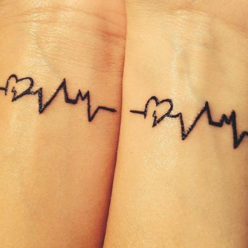 heartbeat mother daughter tattoos