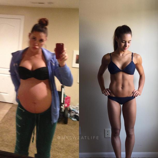 5. This is Kelsey's before and after pregnancy photo