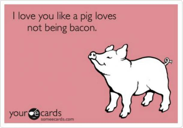 like a pig loves not being bacon I love you meme