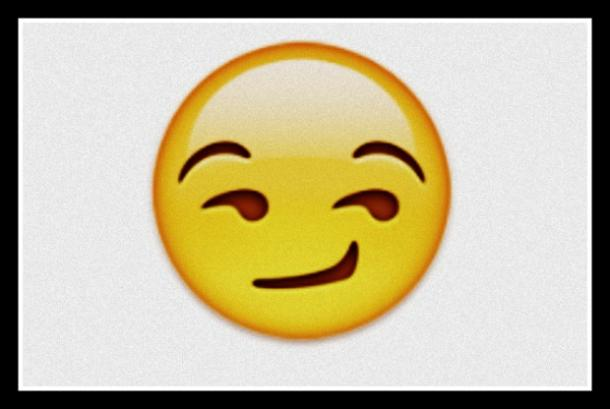 flirty emoji smirking whimsical face