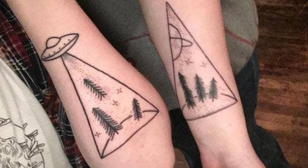 4. UFO Night-Time Encounter Tattoos