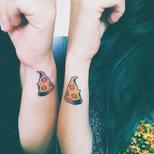 Pizza best friends matching tattoo