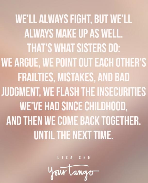 lisa see sister fight quote