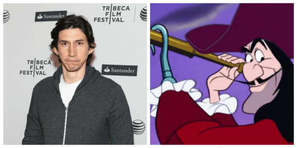 Adam Driver and Captain Hook - <i>Robin Marchant/Getty Images & Disney</i>