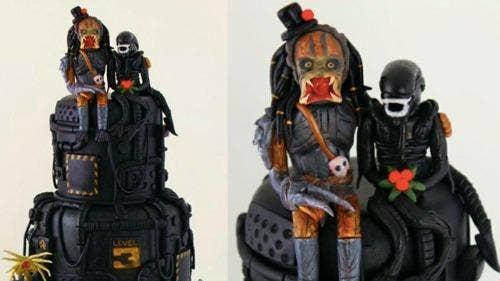 "<a href=""http://io9.com/5917785/alien-versus-predator-wedding-cake-is-disturbingly-adorable"">io9.com</a>"