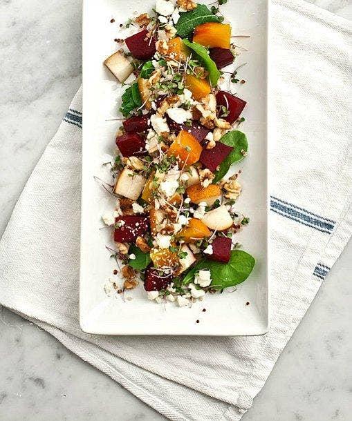 """<a href=""""http://www.yummly.com/recipe/Roasted-beet_-pear-_-walnut-salad-333106?columns=4&position=1%2F28"""">yummly.com</a>"""
