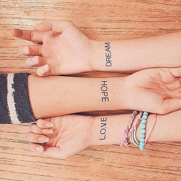 dream hope love best friends matching tattoo
