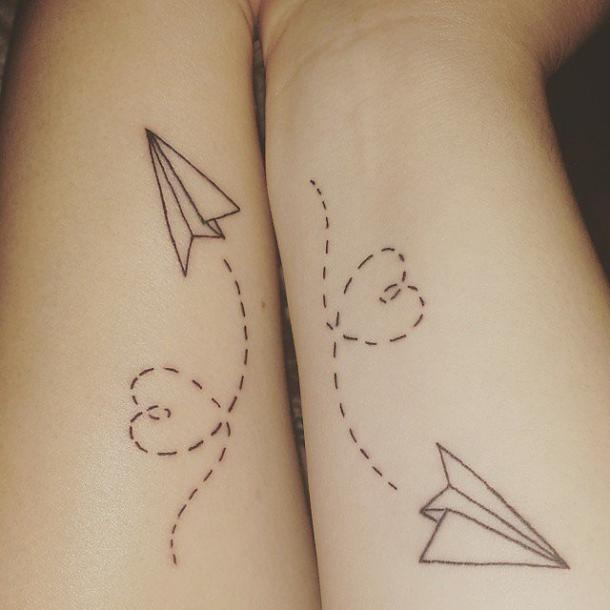 Paper plane best friends matching tattoo