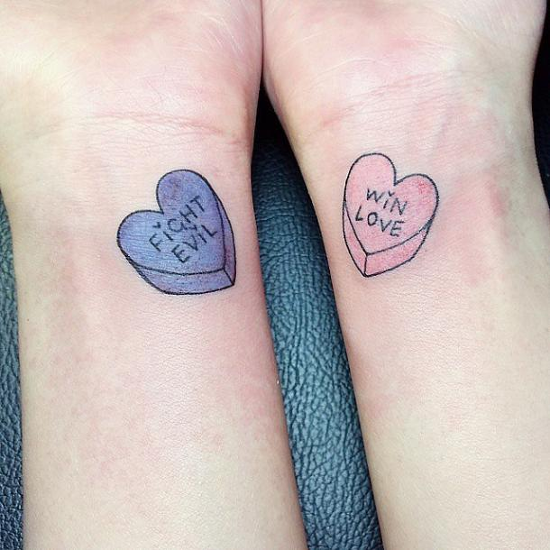 sweethearts best friends matching tattoo