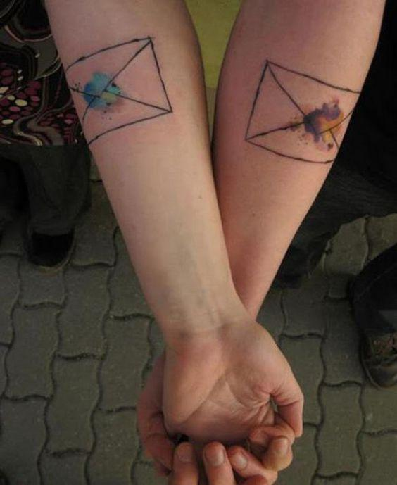 watercolor envelope matching best friends tattoo