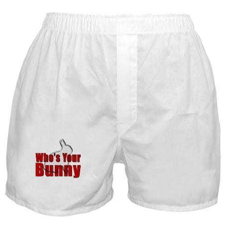 <a href=http://www.cafepress.com/+whos_your_bunny_boxer_shorts,53331423>cafepress.com</a>, $16</b>