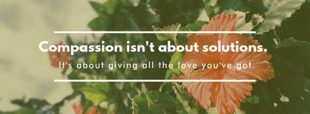 "2. ""Compassion isn't about solutions. It's about giving all the love you've got."""