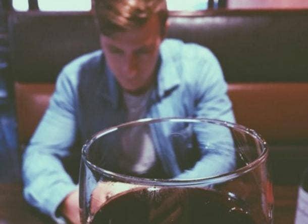 man wine glass